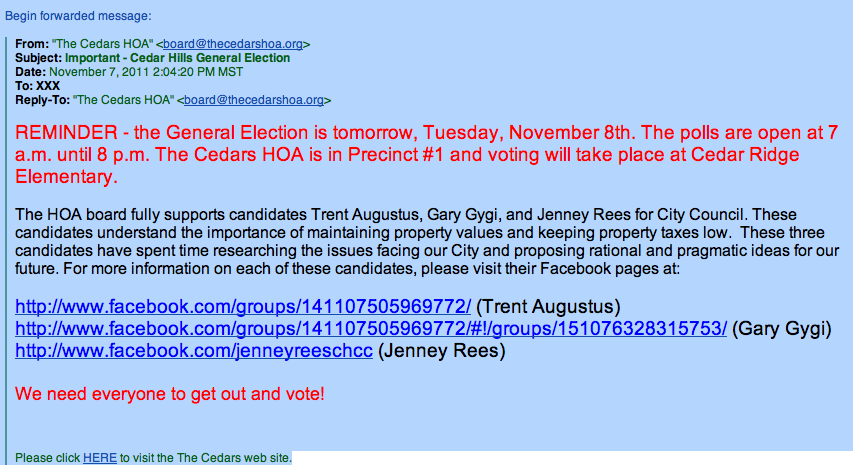 Voting instructions by Cedar HOA from Gretchen Gordon - 2011 11 07