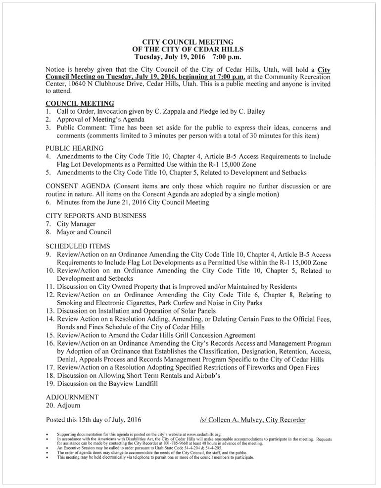 July 19, 2016 Council Agenda screenshot