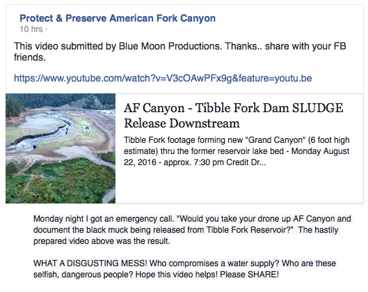 Protect & Preserve AF Canyon FB alert on BM video