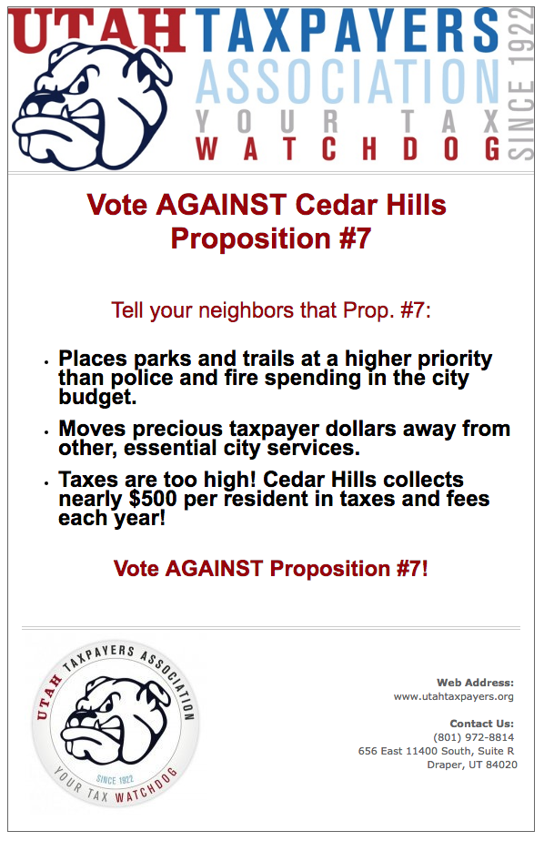 Utah Tax Payers Assoc - Vote AGAINST Prop #7 v2